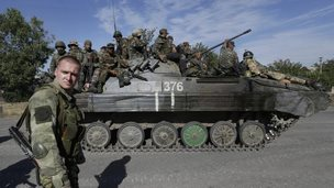 A pro-Russian rebel in Starobesheve, east Ukraine, 30 Aug