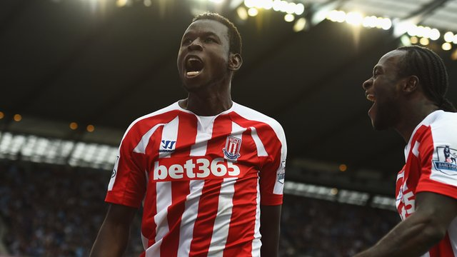 Stoke's Mame Biram Diouf celebrates scoring against Manchester City