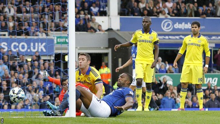 Sylvain Distin has a goal disallowed for Everton