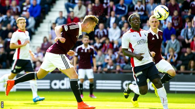 Jordan McGhee scores for Hearts against Falkirk