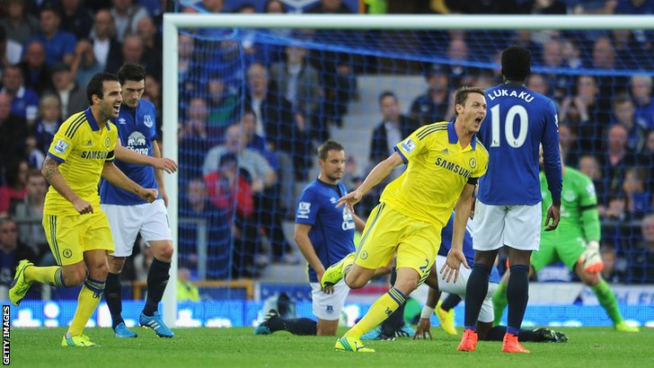 Nemanja Matic scores Chelsea's fourth goal against Everton