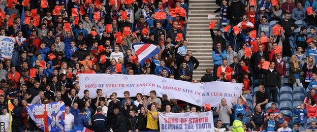 Sme Rangers fans protested against the Ibrox board during the match