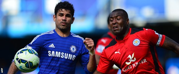 Diego Costa (left) challenges Leicester City's Wes Morgan