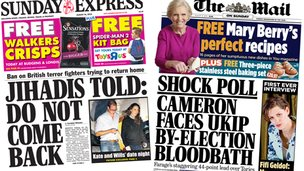Composite image of Sunday Express and Mail on Sunday front pages
