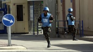 2013 file pic: Filipino UN peacekeepers cross the Quneitra checkpoint