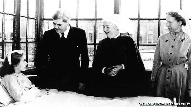 Aneurin Bevan at the first NHS hospital