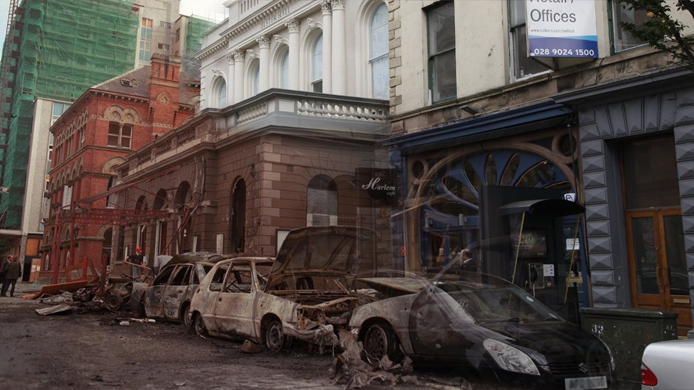 Composite picture of Belfast's Bedford Street in 2014 and in the aftermath of a 1992 bomb