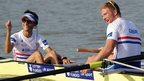 George Nash, William Satch and Phelan Hill of Great Britain celebrate after winning the Men's Eight final during the 2013 World Rowing Championships