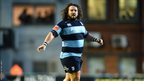 Prop Adam Jones made his first appearance for the Cardiff Blues after joining from Ospreys in the region's 21-17 friendly defeat at Leicester Tigers.