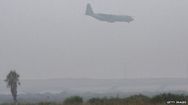 RAF plane landing in heavy fog in Akrotiri earlier in August