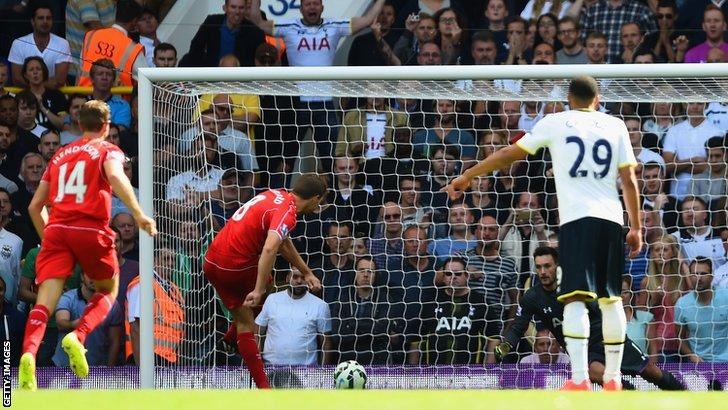 Steven Gerrard scores Liverpool's second goal