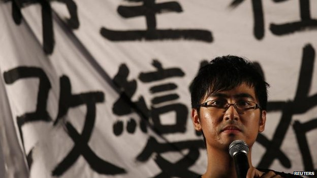 Alex Chow, secretary-general of the Hong Kong Federation of Students, speaks in the Central district, 31 Aug