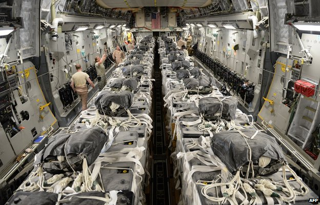 US Air Force Central Command where troops assemble aid packages headed for Amerli in Iraq 31 August 2014