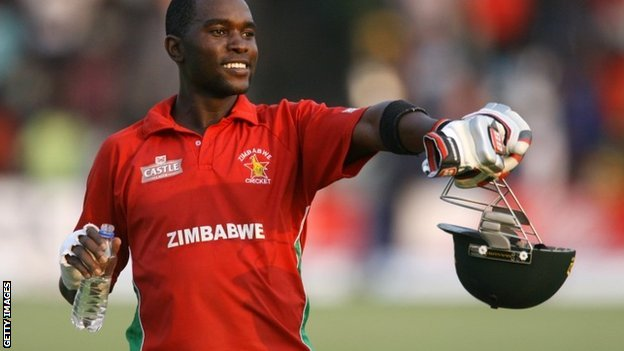 Zimbabwe captain Elton Chigumbura celebrates his team's victory