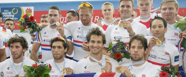GB's men's eight celebrate winning World Rowing Championship gold