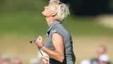 Trish Johnson celebrates winning the Ladies Scottish Open