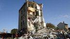 Blast damaged building in Rosny-sous-Bois, Paris