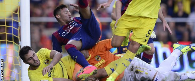 Neymar in action against Villarreal
