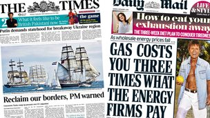 Composite image of Times and Mail front pages