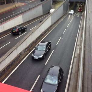 Traffic in Birmingham tunnels