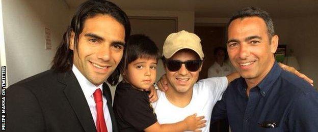 Felipe Massa (second left) with Monaco striker Radamel Falcao and ex-France international Youri Djorkaeff