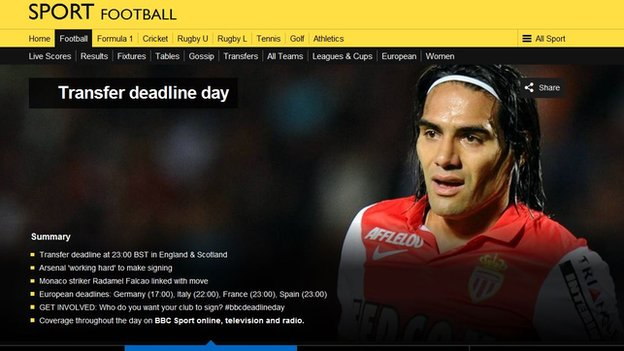 Transfer deadline day page