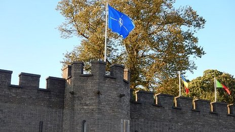 Nato flag flying above Cardiff Castle
