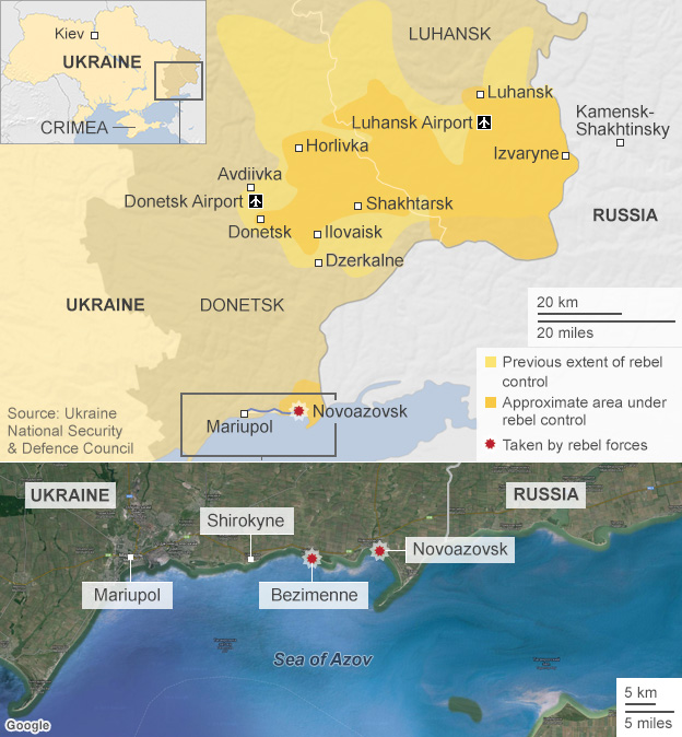 Map of rebel forces in Ukraine
