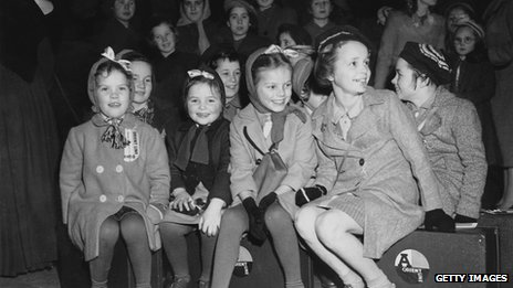 "Orphans from St Anthony""s Home for Girls, Feltham, waiting at St Pancas railway station, London, before travelling to Tilbury docks to board a ship bound for Australia under the Catholic Emigration Scheme, 17th December 1948"