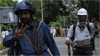 Protesters at Pakistan state TV station in Islamabad