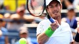 Andy Murray stretches for a forehand at the US Open 2014