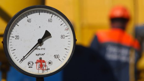A pressure valve on a gas pipeline