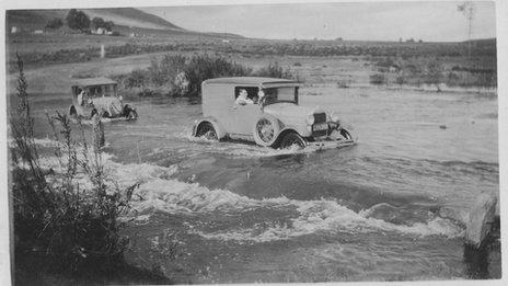 Driving through a river