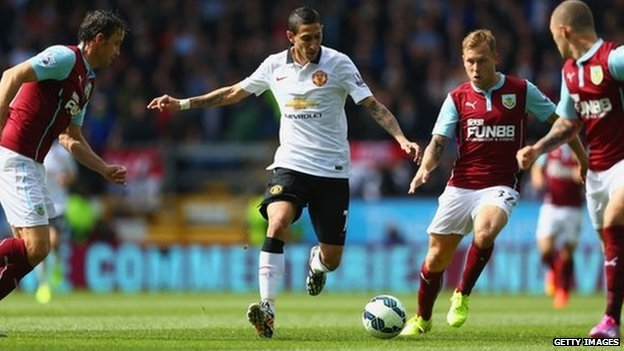 Man Utd new signing Angel di Maria in action against Burnley