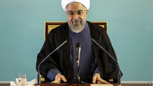Iranian President Hassan Rouhani at a press conference in Tehran, Iran - 30 August 2014