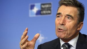 Outgoing Nato Secretary General Anders Fogh Rasmussen gives a press briefing ahead to NATO heads of states meeting in Wales, at international press center in Brussels, Belgium, on 1 September 2014.