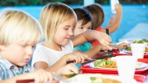 Infants eat lunch