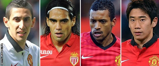 Angel di Maria, Radamel Falcao, Luis Nani and Shinji Kagawa