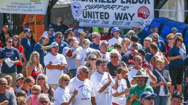 Union workers applaud at Laborfest in Milwaukee