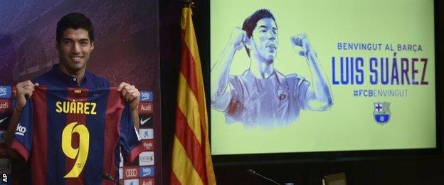 Luis Suarez's unveiling at Barcelona