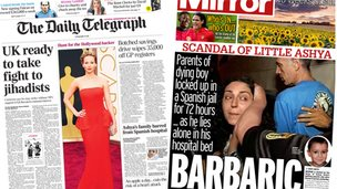 Composite image of Daily Telegraph and Daily Mirror front pages