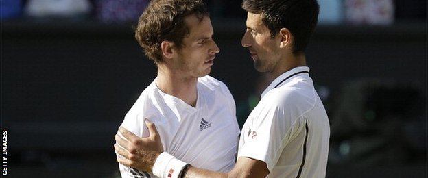 Andy Murray (left) with Novak Djokovic