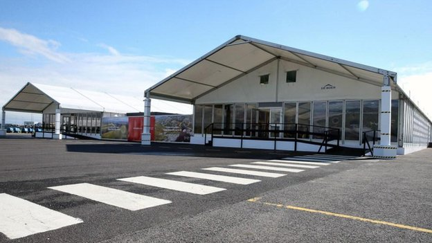 temporary terminal at Cardiff airport