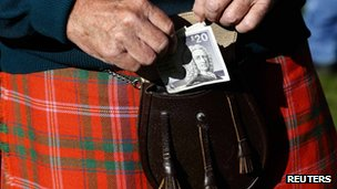 Man with kilt, sporren and Scottish pound