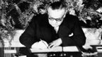 British foreign affairs minister Ernest Bevin signs the Nato treaty