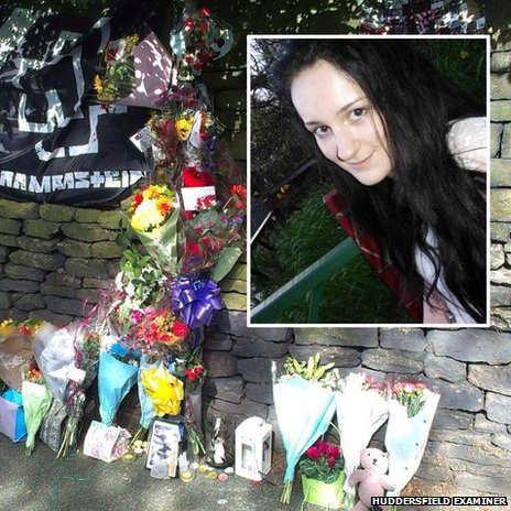 Floral tributes in Thongsbridge