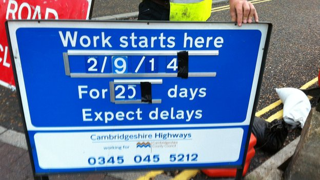 Council highways department sign in Cambridgeshire