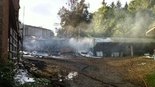 Barn fire in Clayhidon