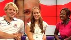 Andrew Triggs Hodge, Helen Glover, and Ayshah