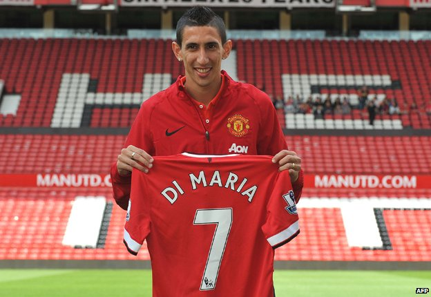 Angel Di Maria holding his Manchester United shirt